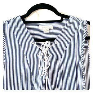 Blue and white striped dress with ties.